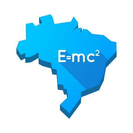 relativity: Illustration of an isolated vector Brazil map with the Theory of Relativity formula