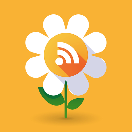 really simple syndication: Illustration of a  vector flower with an RSS sign