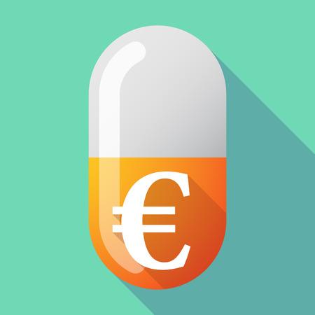 Illustratie van een lange schaduw vector pil met een euro teken