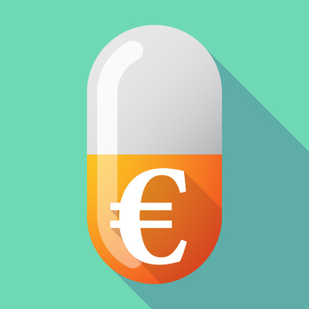 Illustration of a long shadow vector pill with an euro sign