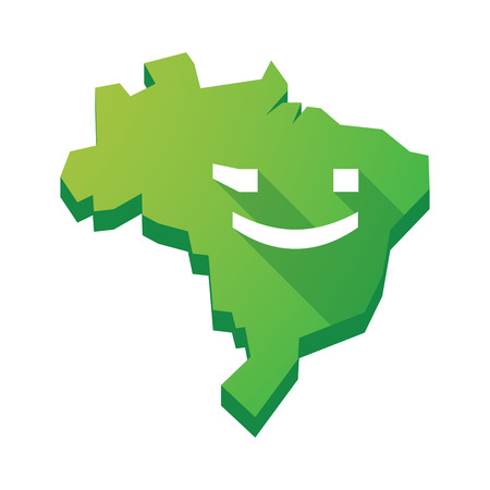wink: Illustration of an isolated vector Brazil map with  a wink text face emoticon Illustration