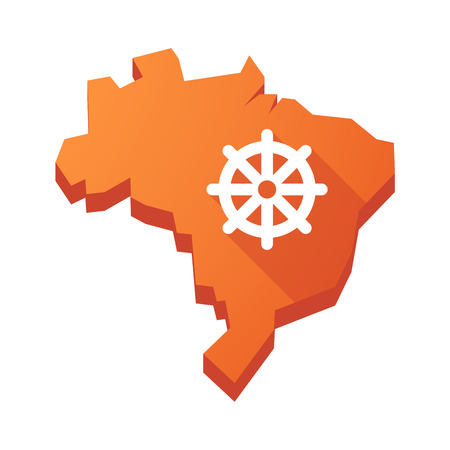 dharma: Illustration of an isolated vector Brazil map with a dharma chakra sign Illustration