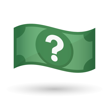 financial questions: Illustration of an isolated waving bank note with a question sign