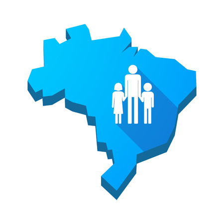 single parent family: Illustration of an isolated vector Brazil map with a male single parent family pictogram Illustration