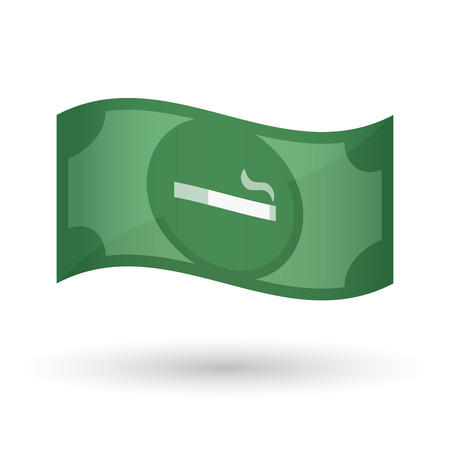 bank note: Illustration of an isolated waving bank note with a cigarette