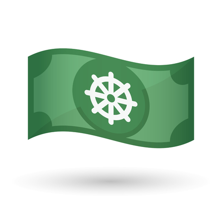 dharma: Illustration of an isolated waving bank note with a dharma chakra sign Illustration