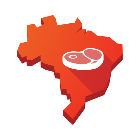 Illustration of an isolated vector Brazil map with  a steak icon