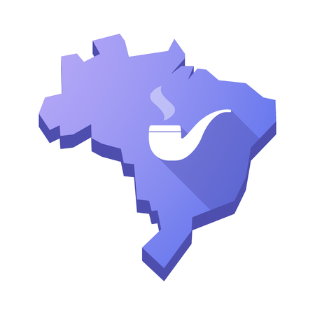 pipe smoking: Illustration of an isolated vector Brazil map with a smoking pipe