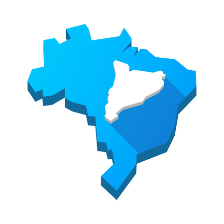 autonomy: Illustration of an isolated vector Brazil map with  the map of Catalonia