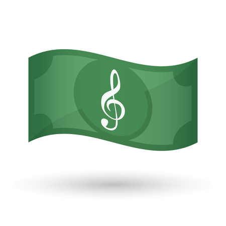 g clef: Illustration of an isolated waving bank note with a g clef
