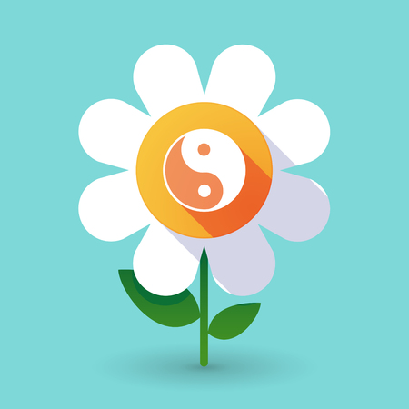 Illustration of a  vector flower with a ying yang Illustration