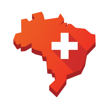 swiss flag: Illustration of an isolated vector Brazil map with   the Swiss flag Illustration