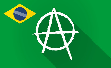 anarchist: Illustration of a long shadow Brazil flag with an anarchy sign