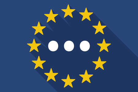 orthographic: Illustration of a long shadow EU flag with  an ellipsis orthographic sign