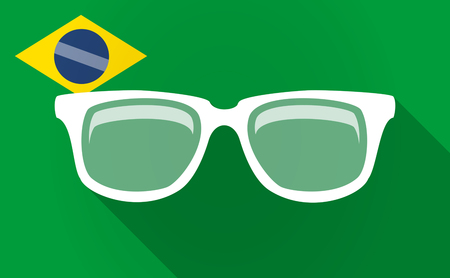 visions of america: Illustration of a long shadow Brazil flag with a glasses