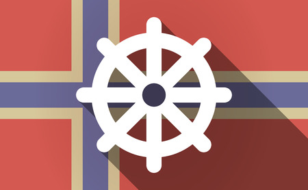 dharma: Illustration of a long shadow Norway flag with a dharma chakra sign