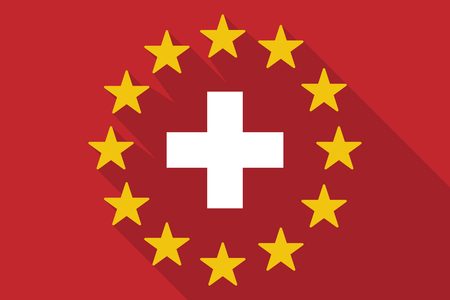 commission: Illustration of a long shadow EU flag with   the Swiss flag Illustration