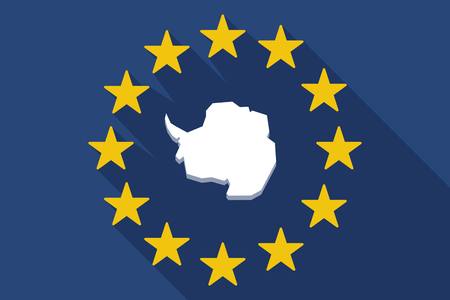 antarctica: Illustration of a long shadow EU flag with  the map of  Antarctica Illustration