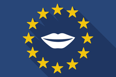 long mouth: Illustration of a long shadow EU flag with  a female mouth smiling