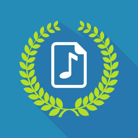 partition musique: Illustration d'une couronne de laurier icône longue ombre avec une icône de partition Illustration