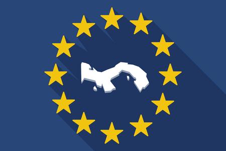 bandera de panama: Ilustración de una bandera larga sombra de la UE con el mapa de Panamá