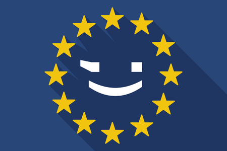 commission: Illustration of a long shadow EU flag with  a wink text face emoticon