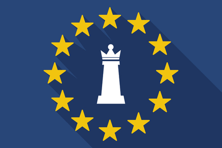 commission: Illustration of a long shadow EU flag with a  queen   chess figure