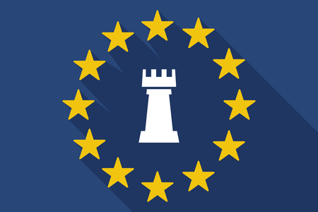 commission: Illustration of a long shadow EU flag with a  rook   chess figure