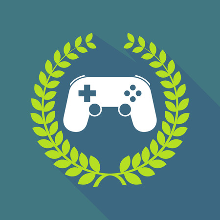 game pad: Illustration of a long shadow laurel wreath icon with  a game pad Illustration