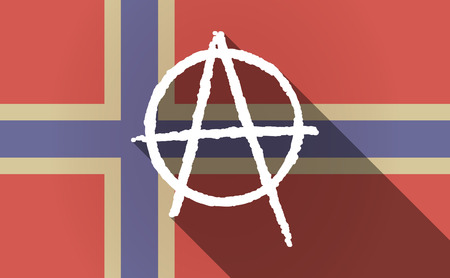 anarchist: Illustration of a long shadow Norway flag with an anarchy sign