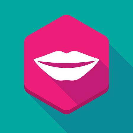 long mouth: Illustration of a long shadow hexagon icon with  a female mouth smiling Illustration