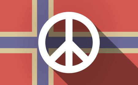 antiwar: Illustration of a long shadow Norway flag with a peace sign