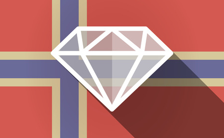 norway flag: Illustration of a long shadow Norway flag with a diamond Illustration