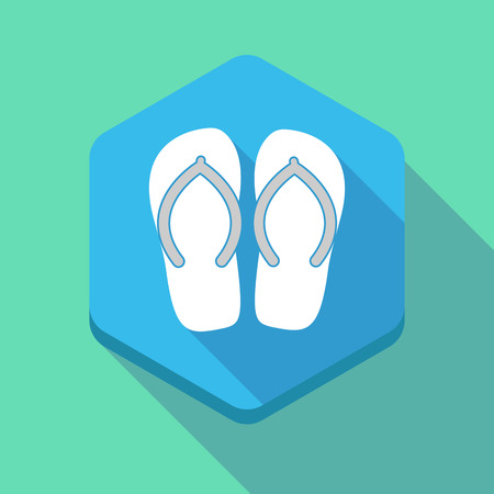 flipflop: Illustration of a long shadow hexagon icon with   a pair of flops Illustration