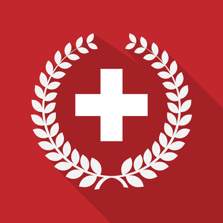 swiss flag: Illustration of a long shadow laurel wreath icon with   the Swiss flag