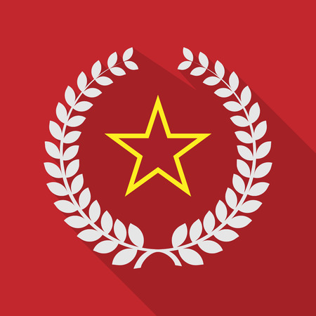 communism: Illustration of a long shadow laurel wreath icon with  the red star of communism icon Illustration