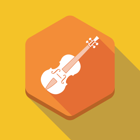 viola: Illustration of a long shadow hexagon icon with  a violin