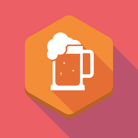 beer jar: Illustration of a long shadow hexagon icon with  a beer jar icon