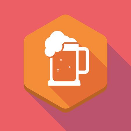 tarro cerveza: Ilustración de un icono hexagonal larga sombra con un icono de jarra de cerveza