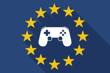 game pad: Illustration of a long shadow EU flag with  a game pad