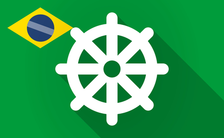 wheel of dharma: Illustration of a long shadow Brazil flag with a dharma chakra sign Illustration