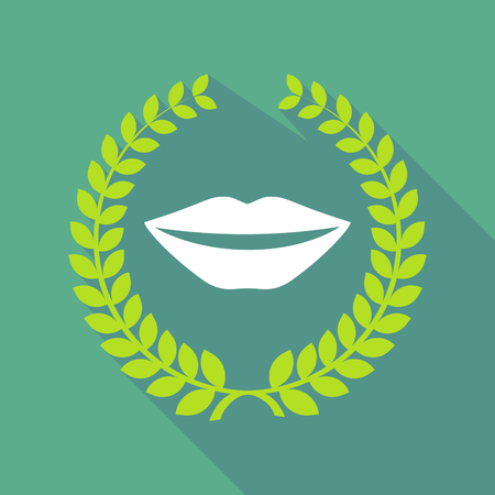 long mouth: Illustration of a long shadow laurel wreath icon with  a female mouth smiling