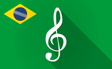 g clef: Illustration of a long shadow Brazil flag with a g clef