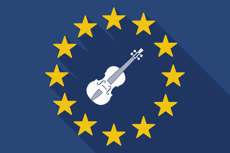 eu: Illustration of a long shadow EU flag with  a violin
