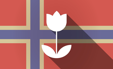 Illustration of a long shadow Norway flag with a tulip