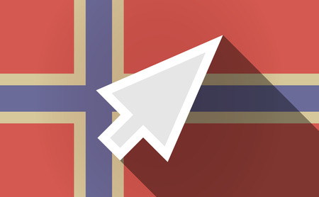 norway flag: Illustration of a long shadow Norway flag with a cursor