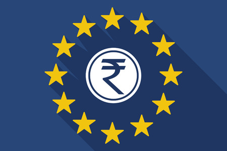 Illustration of a long shadow EU flag with a rupee coin icon