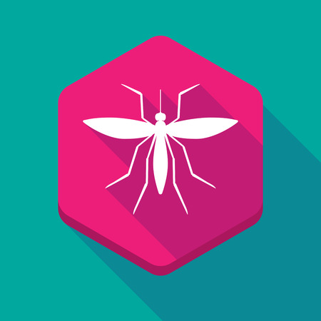 bloodsucker: Illustration of a long shadow hexagon icon with  a mosquito Illustration