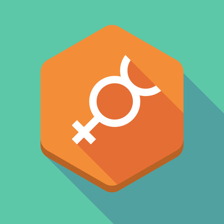 Hermaphrodite: Illustration of a long shadow hexagon icon with  the mercury planet symbol