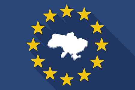emblem of ukraine: Illustration of a long shadow EU flag with  the map of Ukraine